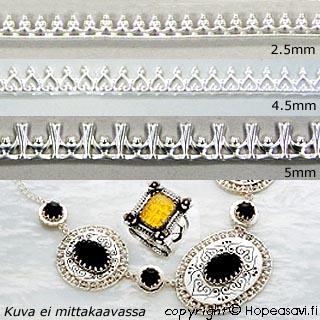 Hopeanauha *Kruunu A* -kruunun kohdalla nauhan leveys noin 5mm, paksuus noin 0.8mm, hopea 925, noin 9.7-10cm