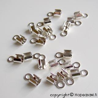 Päätösosa nauhalle, hopeoitu, pituus noin 10mm, 2-4mm paksuille nauhoille, TUKKUPAKKAUS 100 kpl
