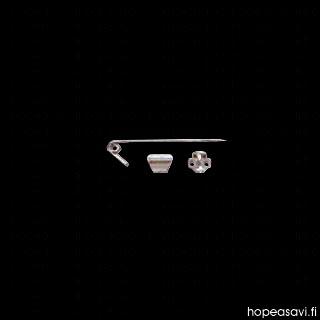 Rintakoru, liitososat, yksinkertainen kiinnipainettava malli, 55mm, hopeasavelle, jalkaosat hopea 980, teräsneula