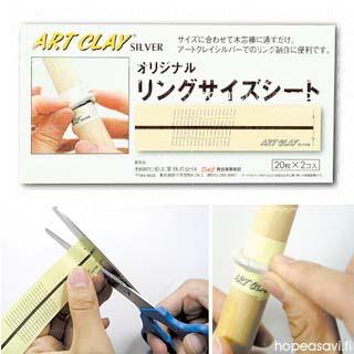Tarrapaperi, työalusta sormustyöhön, valmiiksi painettu Japanilainen mitta-asteikko.