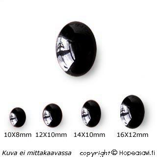 Onyksi, Kapussi, musta, v/t, Soikea, 10x8mm, 1 kpl