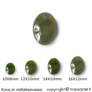 Jade, kapussi, pyöröhiottu, soikea, 14x10mm, 1kpl *Tarjous*