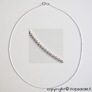 Hopeaketju, tyylikäs klassinen design, hopea 925, paksuus n. 1.2mm, pituus 40cm, vieterilukko