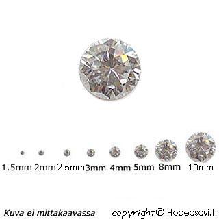 Kuutiollinen Zirkonia, valkoinen (kirkas), pyöreä, 2.5mm, 5 kpl