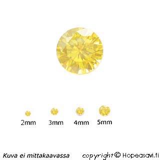 Kuutiollinen Zirkonia, keltainen, pyöreä 2mm, 10 kpl