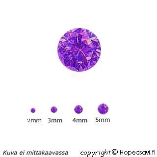 Kuutiollinen Zirkonia, Violetti, Pyöreä 2mm, 5kpl
