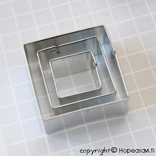 Muotti neliö, 3kpl setti (2x2, 3x3, 4x4 cm), 'Food Safe' -merkki