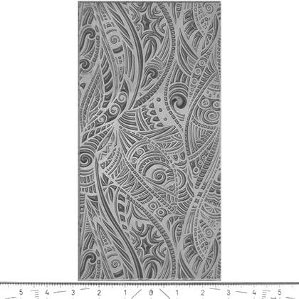 """Pintakuviointiin: Tekstuurilevy, joustavaa silikonia, 10x5cm, """"Heimo -kuvio"""""""