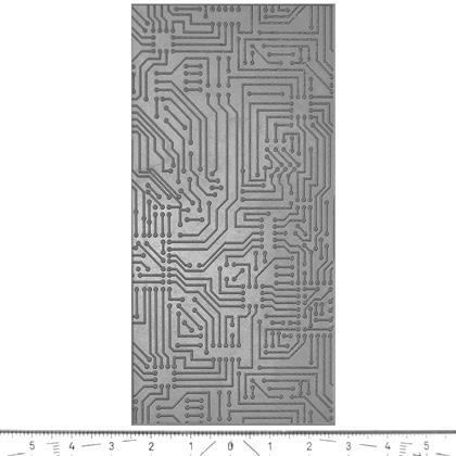 """Pintakuviointiin: Tekstuurilevy, joustavaa silikonia, 10x5cm, """"Piirilevy"""""""