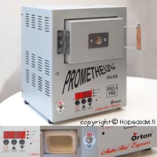 Tilaustuote -tiedustele toimitusaikaa* Koru-uuni: Prometheus PRO1PRG, Laadukas Orton ohjelmointi, metallisaville, emalointiin ja lasinsulatukseen. Lämpö 1000C asti.
