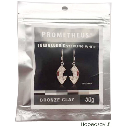 *Uutuus* Pronssisavi PBC: Prometheus Bronze Clay, Jeweller's Sterling White Bronze Clay, Valkoinen Pronssi 50g