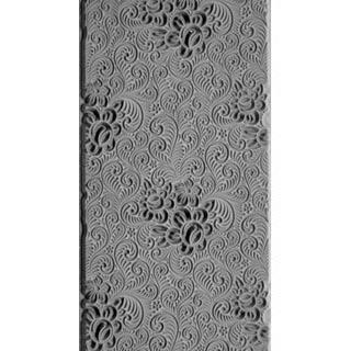 """Pintakuviointiin: Tekstuurilevy, joustavaa silikonia, 10x5cm, """"Ruusunkiehkurat"""" (hienojakoinen kohokuvio)"""