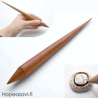 *Tarjous* Art Clay Special, Overlay työkalu 'Sgraffito kynä', jalopuuta, terävä kärki, pituus 20cm, valmistettu Japanissa, lue info>>>