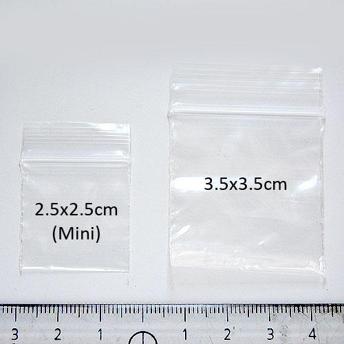 Suljettava säilytyspussi, salpapussi, 2.5x2.5cm (mini), kirkas, noin 100 kpl