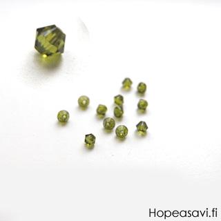 Helmi, Swarovski Crystal, Oliivin vihreä, 4mm, bicone (säihkyvä heijastus), TUKKUPAKKAUS 48 kpl