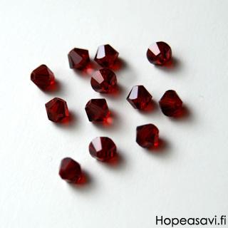 *Poistomyynti huom kpl määrä* Helmi, Swarovski Crystal, Siam punainen, 4mm, bicone (säihkyvä heijastus), 6kpl