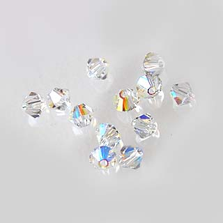 Helmi, Swarovski Crystal, Kirkas, 4mm, bicone (säihkyvä heijastus), TUKKUPAKKAUS 48 kpl