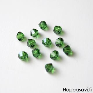 Helmi, Swarovski Crystal, Saniaisen vihreä, 4mm, bicone (säihkyvä heijastus), 8 kpl