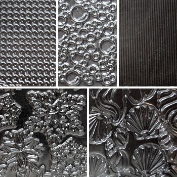 """Pintakuviointiin: Tekstuurilevyjä setti """"Artistinen C"""", 5 kpl, muovia, noin 13.5x10.5cm"""