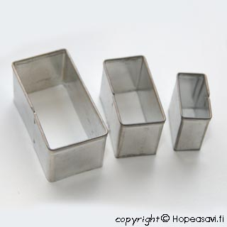 "Muotti ""Suorakaide"", 3kpl setti (1x2, 1.5x3, 2x4 cm)"