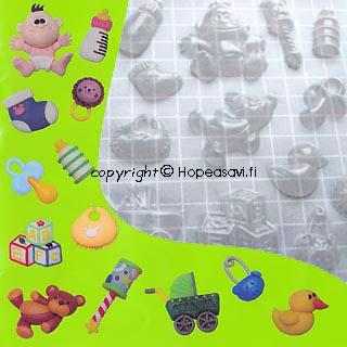 Poistoale - Painomuotti, puolikova, transparantti, vauva-aiheinen, soveltuu kaikille harraste- ja askartelumassoille, 14x16cm (huom. kuvassa cm-ruudukko)