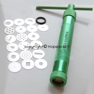 Pursotinsysteemi: Pursotin (alumiinia) ja 20 suutinta, paperi- ja polymeerimassoille
