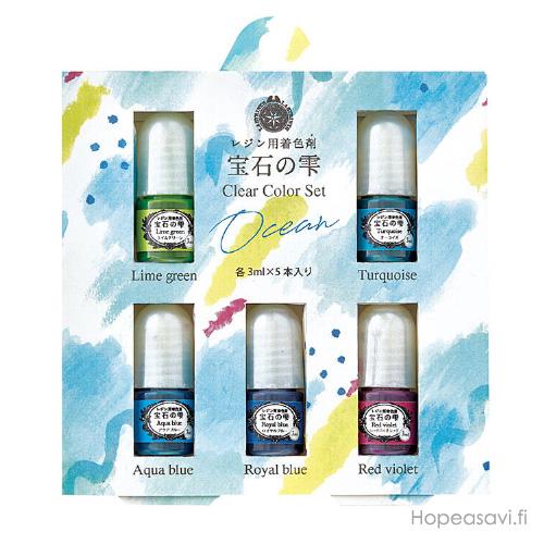 UV-hartsi pigmentti SETTI 'Merten sävyt', 5x3ml, 2 sinistä, turkoosi, lime ja punavioletti
