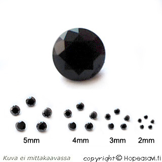 Kuutiollinen Zirkonia, Musta, pyöreä 3mm, 5 kpl, huom ei kestä polttoa