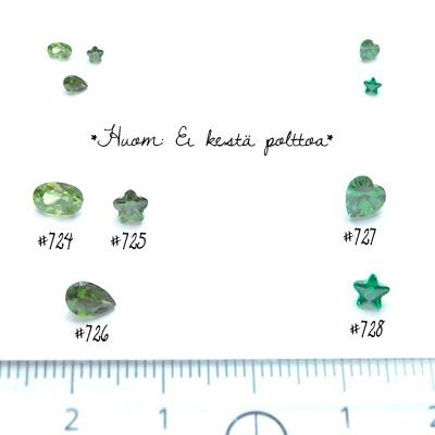 *Mallikappale-poistoale* Kuutiollinen zirkonia, kuvassa #724, vihreä, ovaali, 6x4mm, 1 kpl, Huom: Ei kestä polttoa