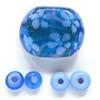 *Mallikappale* Helmi, setti lamppuhelmiä, 1 kpl ovaali, kukkakuvio, 28x22x9mm, 2 kpl tumma sininen 8x4mm, 2 kpl vaalea sininen 9x4mm