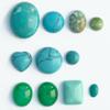 *Kapussi Mix* 'Turkoosi' -kokoelma kuin kuvassa (luonnon/v�ri stabiloitu/syntteettinen), 11 kpl, eri muotoja, koko noin 3x4mm-13x16mm