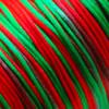 *Poistotarjous* Lanka, satiinia, Punainen - vihreä, 1mm, TUKKUPAKKAUS 24m rulla, helmitöihin, kumihimoketjuihin jne.