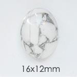 *Uutuus* Hauliitti 'Valkoinen marmorimainen kuvio', soikea, 16x12mm, 1 kpl