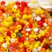 *Mallikappale-Poistoale* Lasihelmi, siemenhelmi, kuvassa #353, keltainen-oranssi-punainen mix, noin 14 g, huom: ilman purkkia