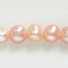 *Erä* Helmiä, aito, erittäin kaunis makeanveden helmi, kuvassa #Q-16, persikka, ovaali/pyöreä noin 6mm, nauha 38cm, OVH 9.50