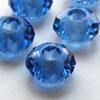 *Poistomyynti* Helmi, lasia, reikä 5mm (iso), sininen, koko noin 15x10mm, 1 kpl
