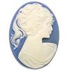 *Uutuus* Camee -kapussi, valkoinen ja sininen, akryyli, 40x30mm (ei aivan tarkka), katse joko oikealle tai vasemmalle, 1 kpl