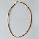 *Siivousmyynti -mallikappale* Kaulaketju, punottua nahkaa, luonnon ruskea, lukko-osat hopea925, pituus 45cm