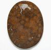 Luonnonkivi, kuvassa #010, designer laatu, Akaatti-Koralli -fossiili, puolipyöröhiottu kapussi, soikea, noin 44x31x8mm, ainutlaatuinen valikoitu kivi