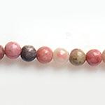 *Uutuus* Kivihelmi, Rodoniitti, 4mm, väri pinkin eri vivahteita, jossa mukana ruskeaa ja harmaata, sekä tummia kiteitä, 16 kpl