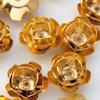 *Mallikappale-Poistoale* Helmi, kuvassa #918, kullattua messinkiä, noin 10mm, ruusu, 17 kpl, OVH 4.20