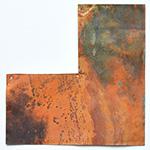 *Siivousmyynti -mallikappale kuin kuvassa * Kuparilevy, patinoitu, PUNAINEN -kuvio, noin 70x70mm, paksuus 0.15mm, pehmeä, uniikki kuvio