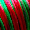 Lanka, satiinia, Punainen-vihreä, 2mm, 5m (1x5m pussi), helmitöihin, kumihimoketjuihin jne.