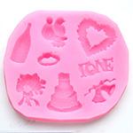 Muotti, joustavaa silikonia, HÄÄ -aiheinen (sydän, kyyhkyset, sormus jne.) 8 paikkaa, yhden koko noin 10-25mm