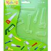 """Muotti, puolikova, läpinäkyvä, """"Työkaluja"""", sopii myös UV-hartsille, 14x16cm, (huom. kuvassa cm-mitta)"""