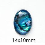 Paua-Abalone, pyöröhiottu kapussi, p/v, soikea, 14x10mm, 1 kpl