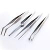 Pinsetit, setti 4 kpl, suora, kaareva, leveä pää ja ristiote, ruostumatonta terästä, pituus noin 12cm