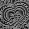 """Pintakuviointiin: Tekstuurilevy, joustavaa silikonia, 10x5cm, """"Sydämiä"""""""
