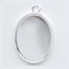 *Uusi malli* Riipuspohja, hopeoitua messinkiä, soikea, noin 20x15mm, reunuksessa 'helmikoristelu' 2 kpl