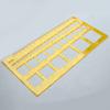 *Mallikappale -huom. mitat eivät tarkkoja* Sapluuna, akryylimuovia, neliö, 1-36mm (mittojen poikkeama noin 5%), esim. paperifiligraanitöihin